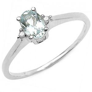 Inel din argint, acvamarin si diamante albe