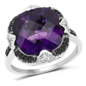 Inel din argint cu ametist si diamante