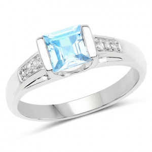 Inel din argint, topaz albastru si diamante albe