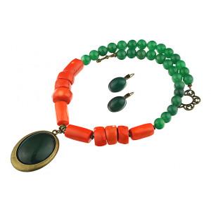Set agat verde si coral portocaliu