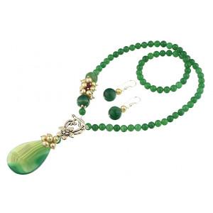 Set asimetric agat verde, aventurin si perle