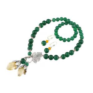 Set cuart, agat verde si jad galben