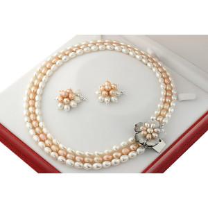 Set exclusivist cu flori din perle naturale ovale