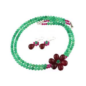 Set floare jad visiniu si agat verde