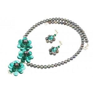 Set flori din cuart verde, perle si cristale Swarovski