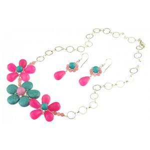 Set flori din jad roz si turcoaz