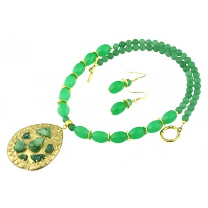 Set jad, aventurin verde si agat druzy