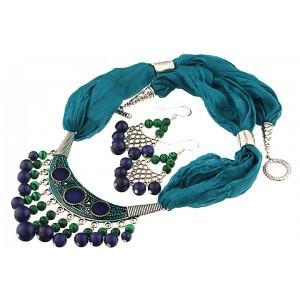 Set matase naturala, lapis lazuli si malachit