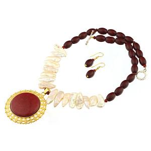 Set perle naturale Biwa si jad rosu