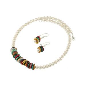 Set perle de cultura albe si perle Biwa