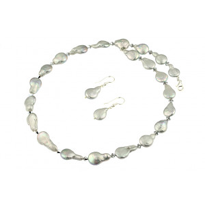 Set perle Biwa argintii si cristale Swarovski