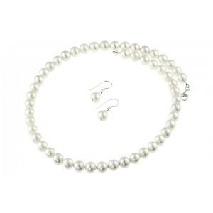 Set perle de Mallorca albe si argint