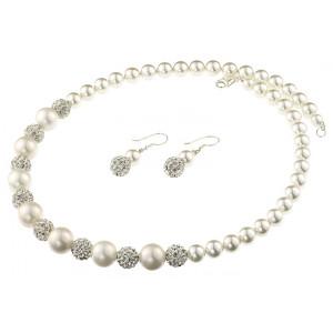 Set perle de Mallorca albe si rhinestone Clear