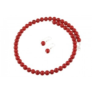 Set perle de Mallorca rosii si argint