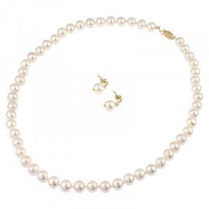 Set perle naturale albe 8 - 9 mm AA si aur 14K