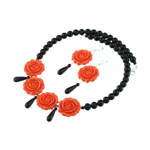 Set trandafiri coral portocaliu si onix