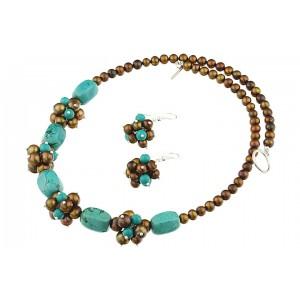 Set turcoaz natural si perle de cultura maro