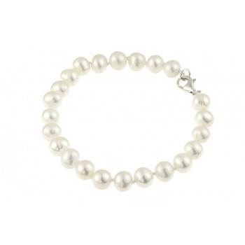Bratara perle naturale albe 6 - 8 mm A si argint