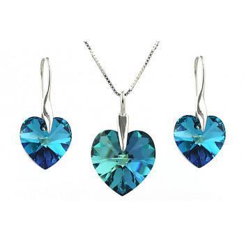 Set cristale Swarovski inima Bermuda Blue