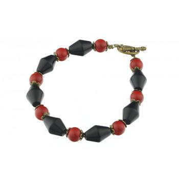 Bratara agat negru si perle de Mallorca rosii