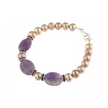 Bratara ametist, rhinestone si perle de cultura lila