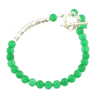 Bratara asimetrica din jad verde