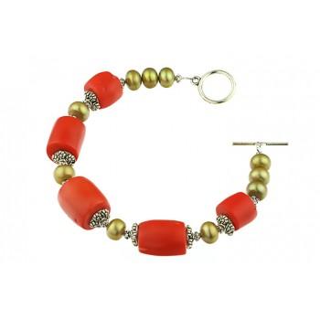 Bratara coral portocaliu si perle oliv