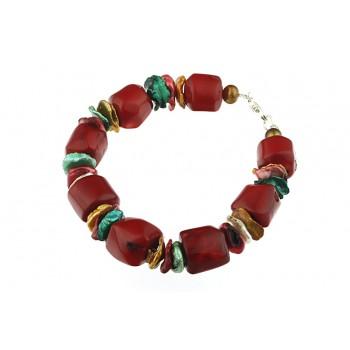 Bratara coral rosu, perle Biwa multicolore si perle de cultura