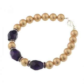 Bratara din perle de Mallorca aurii si ametist