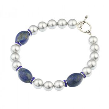 Bratara din perle de Mallorca gri si lapis lazuli