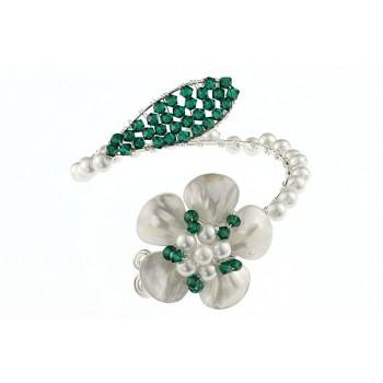 Bratara floare din cristale Swarovski, perle si sidef