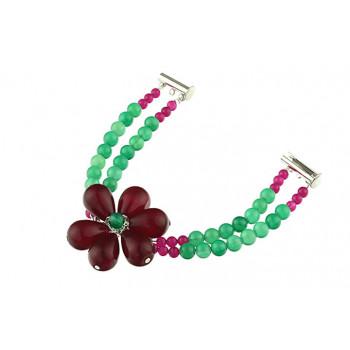 Bratara floare jad visiniu si agat verde