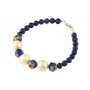 Bratara lapis lazuli, Cloisonne si perle de Mallorca