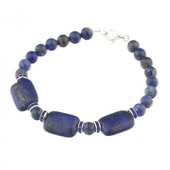 Bratara din lapis lazuli, rhinestone si argint