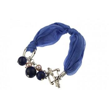 Bratara lapis lazuli, perle de cultura si matase
