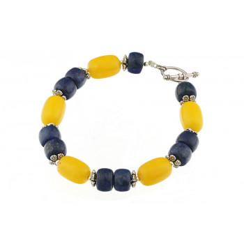 Bratara lapis lazuli si jad galben