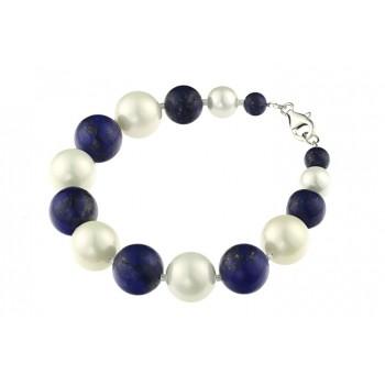 Bratara lapis lazuli si perle de Mallorca