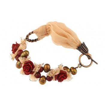 Bratara matase piersica, trandafiri coral si perle