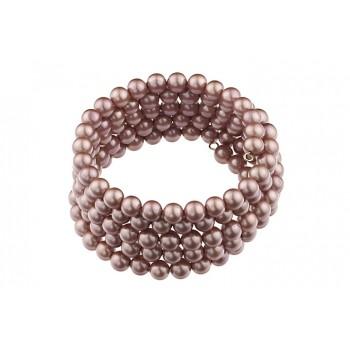 Bratara multisir din perle de Mallorca roz prafuit