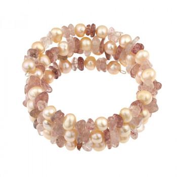 Bratara multisir din perle naturale piersica si cuart