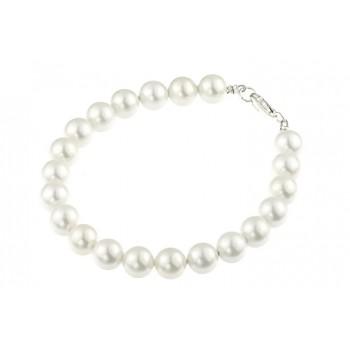 Bratara perle albe de Mallorca si argint