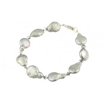 Bratara perle Biwa argintii si cristale Swarovski