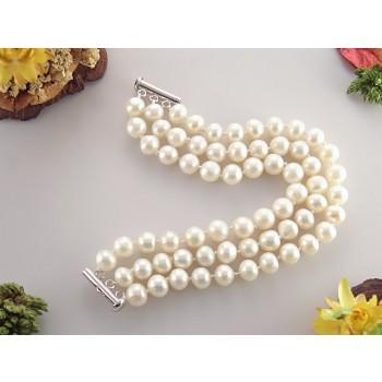 Bratara trei siraguri din perle de cultura 8 - 9 mm AA si argint