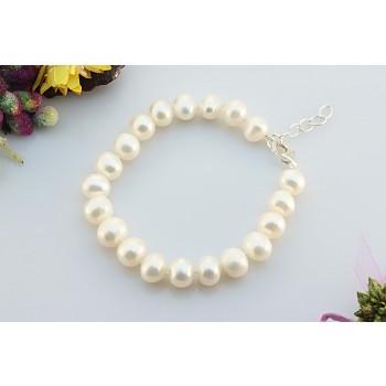 Bratara perle naturale albe 8 - 9 mm AA si argint