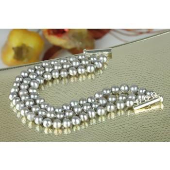 Bratara perle de cultura gri si argint