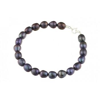 Bratara perle de cultura negre ovale A si argint