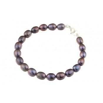 Bratara perle naturale negre ovale si argint