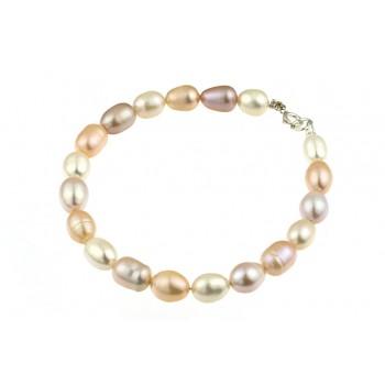 Bratara perle de cultura ovale trei culori si argint