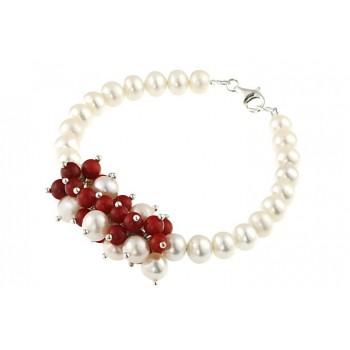 Bratara perle de cultura si coral rosu