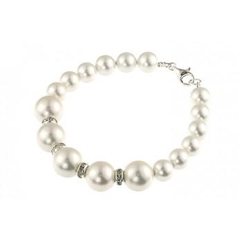 Bratara perle de Mallorca albe si rhinestone